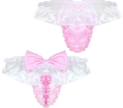 Gay Men Lace Thongs - Shiny Soft Satin Lingerie With Bowtie