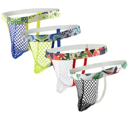 Gay Men Swim Trunks And Shorts - Gay Men Net Thongs with Wide Colourful Band