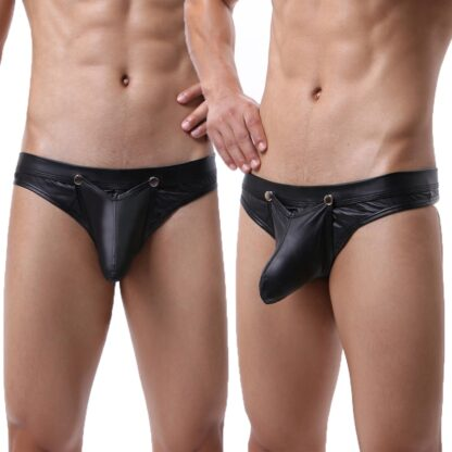 Leather G-string Panties With Penis Pouch All Products - Underwear & Thongs For Men